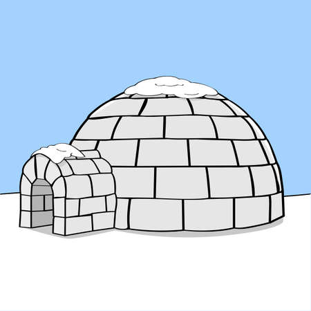 Cartoon illustration showing an igloo in the middle of nowhere with some snow on top of it Vettoriali