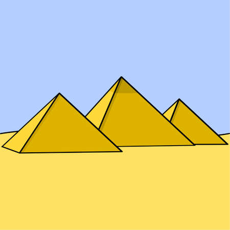 Cartoon illustration showing three Egyptian pyramids in the middle of the desert