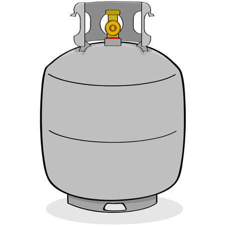 Cartoon illustration of a grey propane tank for outdoor use Çizim
