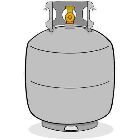 Ilustración de dibujos animados de un tanque de propano gris para uso en exteriores