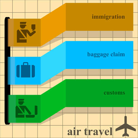 airport people: Template with colorful ribbons over a brown background. Text and graphics can be removed for other uses.