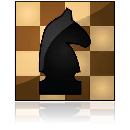 chess knight: Glossy icona illustrazione di un cavaliere di scacchi su una scacchiera di legno Vettoriali