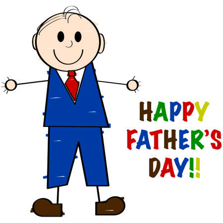 Cartoon illustration showing a man drawn by a child with the words Happy Fathers Day! beside it