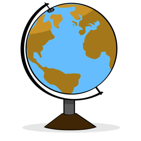 geography: Cartoon illustration showing a school geography globe representing planet Earth