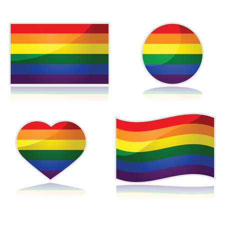 gay pride flag: Set with the rainbow flag of the LGBT movement in different shapes