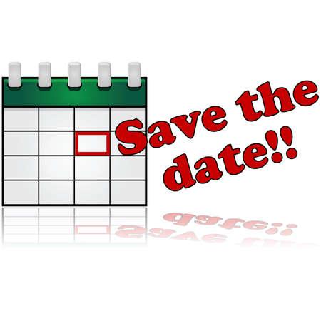"""Icona di un calendario con la data segnata in rosso e le parole """"Save the Date"""" accanto Archivio Fotografico - 25706250"""