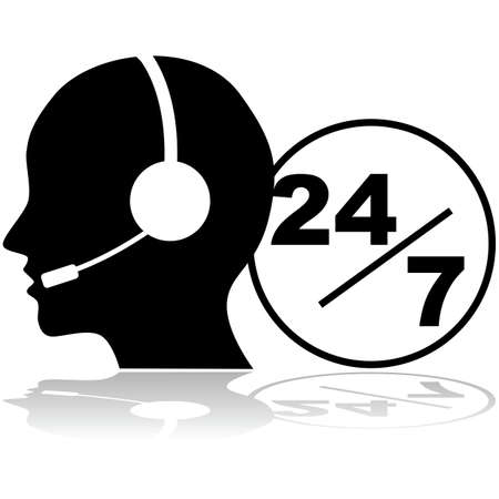 constant: Icon showing a person with a headset providing phone support 24 hours a day, seven days a week Illustration