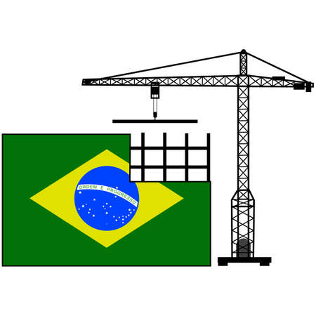 Concept illustration showing the flag of Brazil and a crane helping to build it