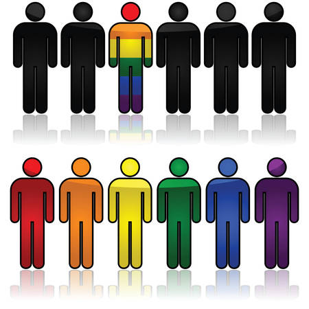 Concept illustration showing outlines of people, some in the colors of the rainbow flag Çizim