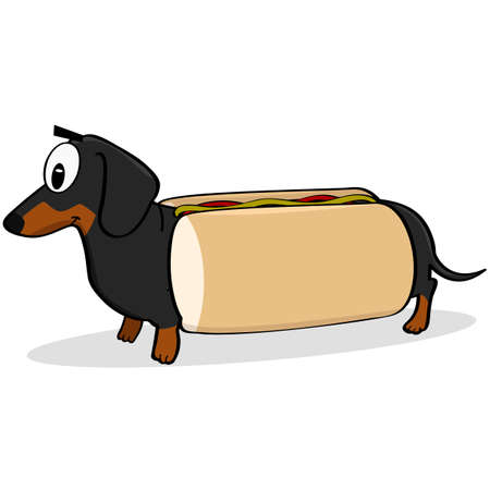 Cartoon illustration showing a dachshund dog inside a hot dog bun with ketchup and mustard on top of it