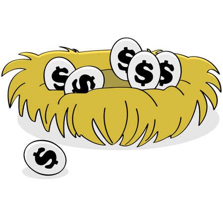 Cartoon illustration showing eggs with dollar signs on them inside a bird nest   Illustration