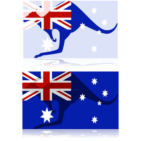 oceania: Concept illustration showing a mix between a kangaroo and the Australian flag
