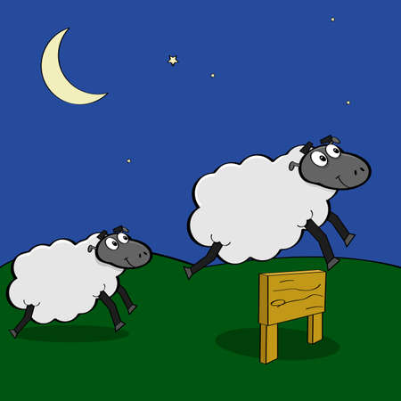 Cartoon illustration showing sheep jumping over a wooden fence at night Vector