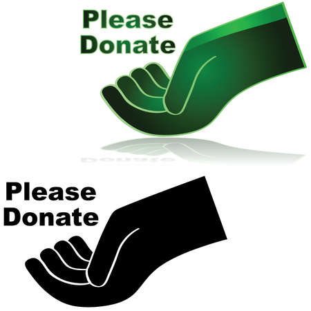 unfortunate: Icon showing an open hand with the words Please donate beside it