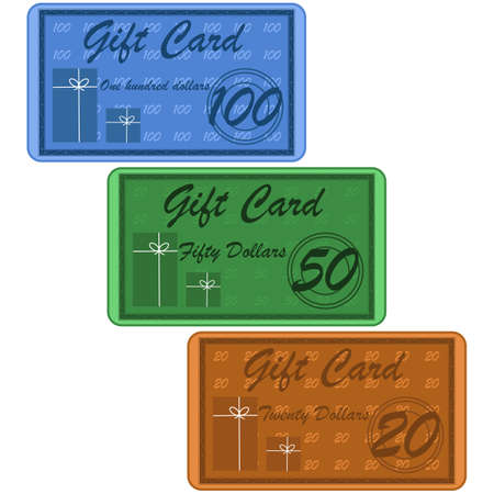Illustration of retro style gift cards for twenty, fifty or one hundred dollars