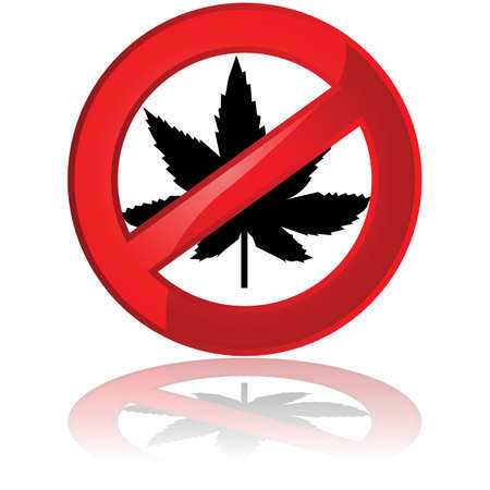 Traffic sign showing a leaf of the cannabis plant inside a prohibited sign