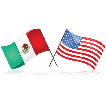 アメリカ合衆国の国旗の横にあるメキシコの旗を示す光沢のある図