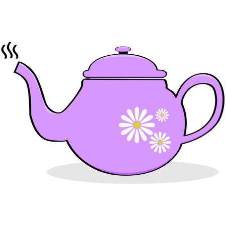 Cartoon illustration of a pink teapot with daisies painted on it