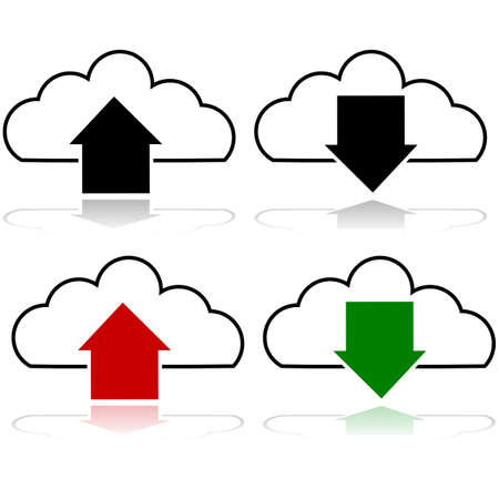 Icon set showing the upload and download process from a cloud server
