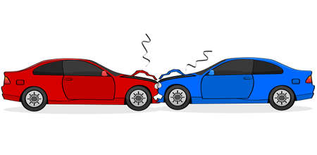 fault: Cartoon illustration showing two cars after a head-on collision Illustration