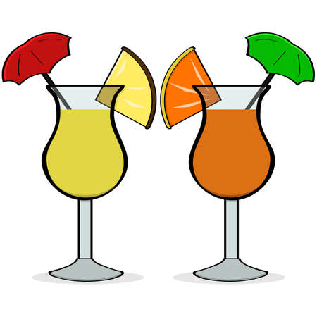 Cartoon illustration showing a pair of fancy drinks with little umbrellas and fruit in them