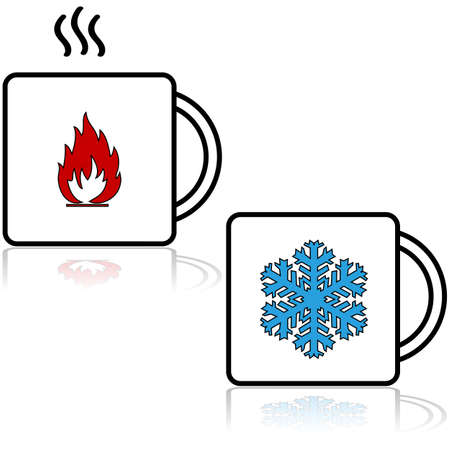 Cartoon illustration showing a couple of mugs for hot and cold beverages
