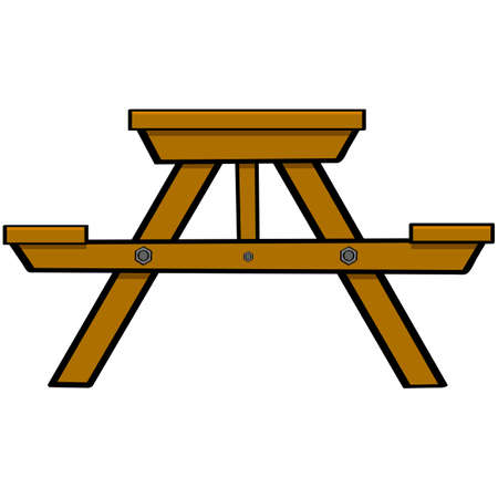 Cartoon illustration showing a typical wooden picnic and camping table