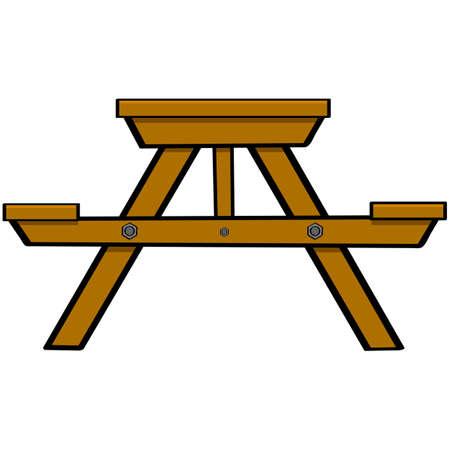 Ilustración de dibujos animados que muestra una tabla típica de picnic y camping madera Foto de archivo - 25996264