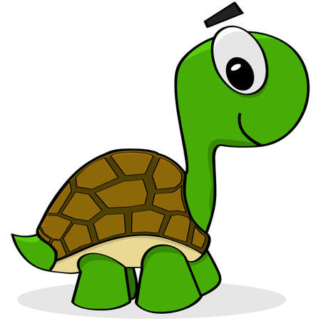 Cartoon illustration showing a happy green and brown turtle walking
