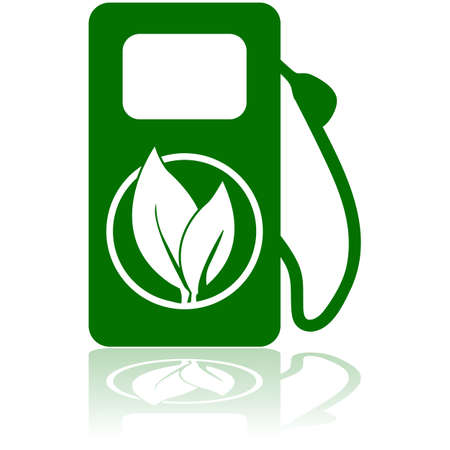 fuel pump: Icon showing a green gas pump with a leaf on it to represent an environmentally friend option of fuel