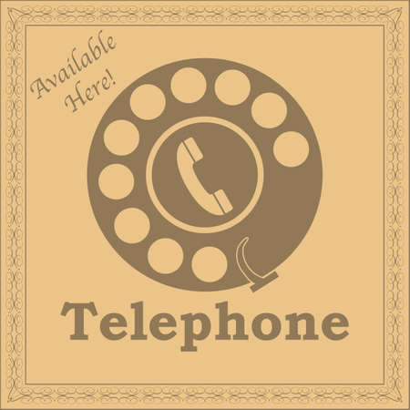 rotary: Concept illustration showing a rotary phone dial in retro style