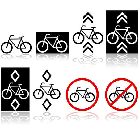 Set with different bicycle signs and icons