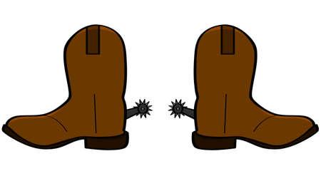革カウボーイ ブーツのペアの漫画イラスト  イラスト・ベクター素材