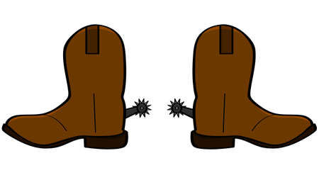 boots: Cartoon illustration of a pair of leather cowboy boots