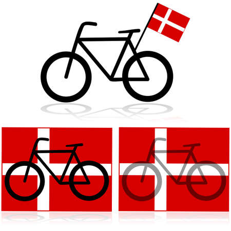 Concept illustration showing a bicycle with the flag of Denmark