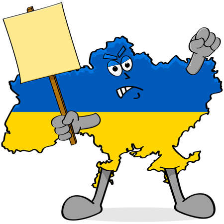 mob: Concept cartoon illustration showing an angry map of Ukraine dressed in the countrys colors and carrying a protest sign