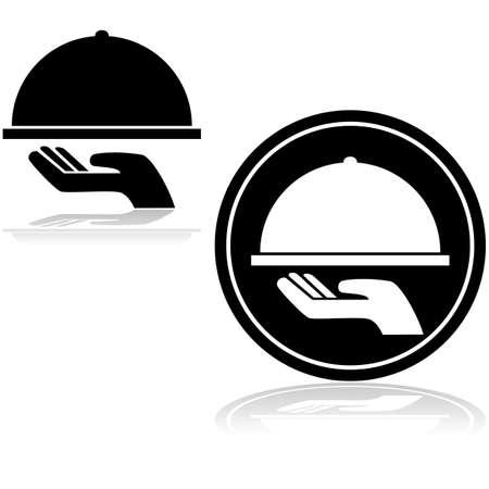 bandeja de comida: Icono de una mano con una bandeja de comida cubierto