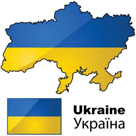 우크라이나의 광택있는 국기는 국가의지도의 상단에 배치