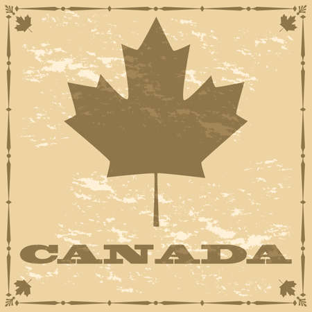 Concept illustration showing a Canadian maple leaf on a brown old-style looking piece of paper Reklamní fotografie - 26075735