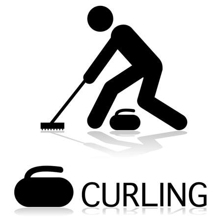 Icon showing a person curling as well as a rock beside the word curling. 向量圖像