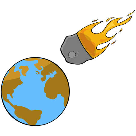 Cartoon illustration showing a speeding asteroid en route to a collision with Earth