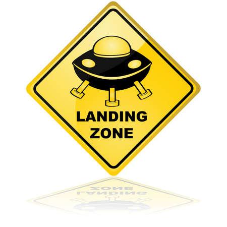 Concept illustration showing a traffic sign for a spaceship landing zone Illusztráció