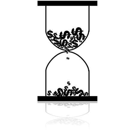 sand dollar: Concept illustration showing an hourglass with dollar icons flowing from the top to the bottom part of it like sand
