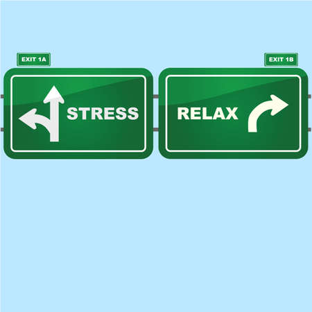 Concept illustration showing highway road signs with exist to stress and relax situations Vector