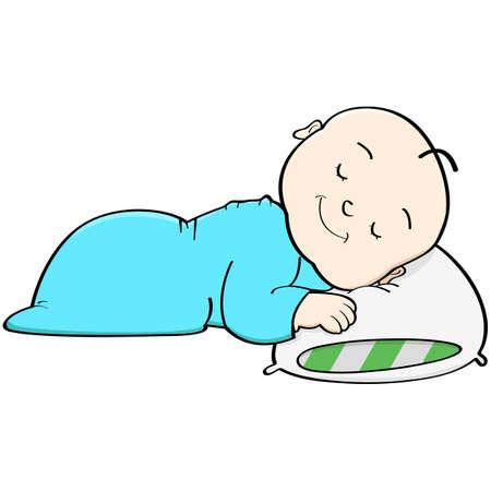Cartoon-Darstellung, ein Baby schlafen mit seinem Kopf auf einem Kissen