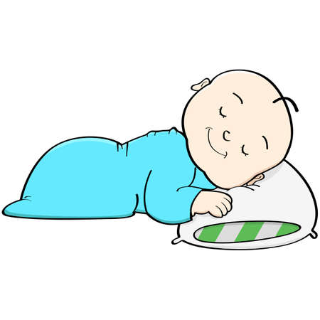 Cartoon illustration showing a baby sleeping with its head on a pillow