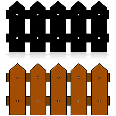 Cartoon illustration of a picket fence, in color and in black and white