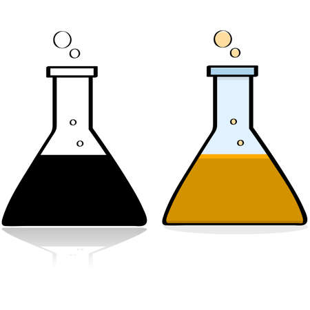 Cartoon illustration showing a chemistry lab beaker with some liquid in it