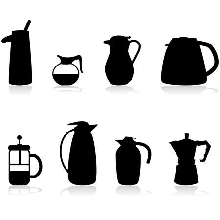 carafe: Icon set showing different types of coffee containers Illustration