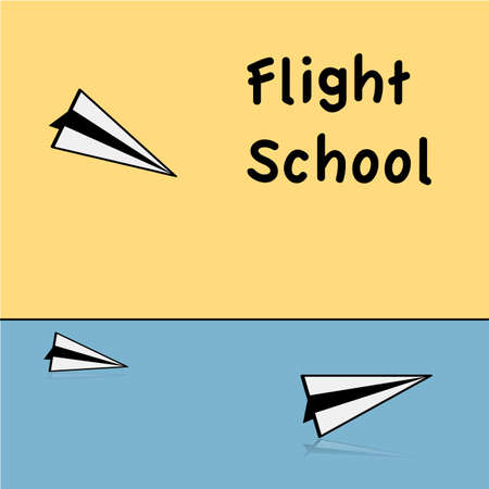 Concept illustration showing a few paper airplanes and the words Flight school Ilustrace